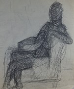 Chair Drawings Originals - Sitter by Erika Chamberlin