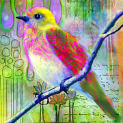 Bird On Tree Painting Prints - Sittin Pretty 2 Print by Robin Mead