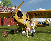 Piper Cub Prints - Sittin Pretty Print by Rick Blyseth