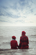 Gloomy Photo Prints - Sitting At The Sea Print by Joana Kruse
