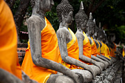 Thai Framed Prints - Sitting Buddhas images at Wat Yai Chai Mongkol Ayutthaya Thailand Framed Print by Fototrav Print