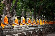 Fototrav Print - Sitting Buddhas images at Wat Yai Chai Mongkol Thailand