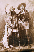Indian Headdress Prints - Sitting Bull and Buffalo Bill Print by Unknown