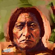 Sitting  Digital Art Posters - Sitting Bull Poster by Arne Hansen