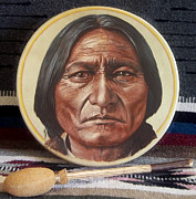 Bulls Mixed Media Originals - Sitting Bull Drum by Stu Braks
