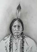 E White Framed Prints - Sitting Bull Framed Print by E White