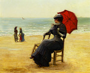 Grey Clouds Posters - Sitting By The Sea Poster by Edouard Bisson