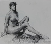 Female Figure Drawings Drawings Posters - Sitting figure Poster by Ernest Principato