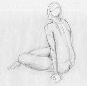 Vintage Painter Drawings Prints - Sitting figure Print by Peut Etre