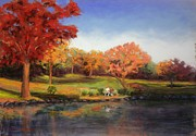 Fall Pastels - Sitting in the Park by Marion Derrett