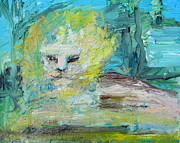Lion Oil Paintings - SITTING LION oil portrait by Fabrizio Cassetta