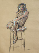 African-american Drawings - Sitting Man Holding His Foot by Asha Carolyn Young