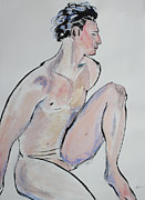 Pen  Pastels - Sitting Man with One Knee Up by Asha Carolyn Young