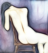 Painted Mixed Media - Sitting Nude Figure by Michal Boubin