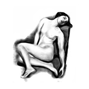 Naked Drawings Posters - Sitting Nude Poster by Stefan Kuhn