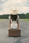 Sun Hat Posters - Sitting On A Suitcase Poster by Joana Kruse