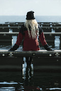 Woman Photos - Sitting On Jetty by Joana Kruse