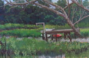 Canoe Pastels Prints - Sitting on the Dock Print by Denise  Cox