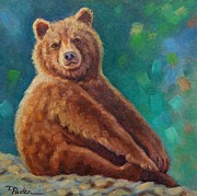 Brown Bear Paintings - Sitting Pretty by Theresa Paden