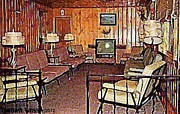 Lounges Framed Prints - Sitting Room Of The Kopper Kettle Motel In Windham N Y 1950s Framed Print by Dwight Goss