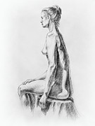 Naked Drawings Posters - Sitting Woman Study Poster by Irina Sztukowski