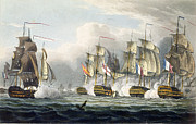 Boats In Water Drawings Posters - Situation of the HMS Bellerophon Poster by Thomas Whitcombe
