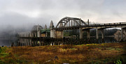 Famous Bridge Originals - Siuslaw Bridge in Fog Pano by Ken McDougal
