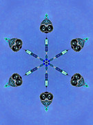 Helmet Digital Art - Six Heads Are Better Than One - blue by Wendy J St Christopher