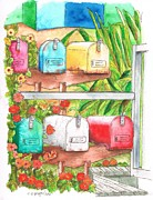 Boxes Painting Originals - Six mail boxes in Venice - California by Carlos G Groppa