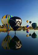 Hot-air Balloon Prints - Six on the Pond Print by Mike  Dawson