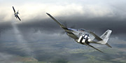 P-51 Mustang Posters - Six on the Sixth Poster by Robert Perry