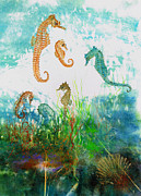 Under The Ocean Mixed Media Prints - Six Seahorses In A Sea Garden Print by Nancy Gorr