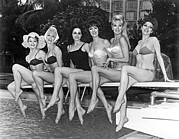 One Piece Swimsuit Prints - Six Showgirls At The Pool Print by Underwood Archives