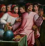 Wreaths Paintings - Six Tuscan Poets by Giorgio Vasari