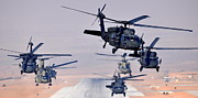 3rd Brigade Prints - Six UH-60L Black Hawks and two CH-47F Chinooks Print by Paul Fearn