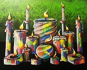 Loraine Framed Prints - Sixteen Colorful Candles with Flames Glowing Brightly Framed Print by Loraine Griffin