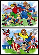 League Drawings Prints - Sixth page of comics about Eurofootball Print by Vitaliy Shcherbak