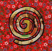 Spirals Mixed Media Posters - Sixties Women Spiral Poster by Christine Perry