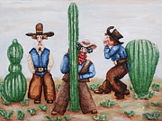 Sand Reliefs Posters - Sizing Up Your Cowboy  A Cactus Comparison Poster by Alison  Galvan
