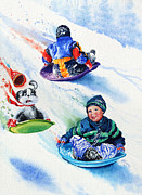 Winter Sports Painting Originals - Sizzling Saucers by Hanne Lore Koehler