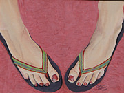Flip-flops Paintings - Sizzling Stripes by Debora Baxter Jackson