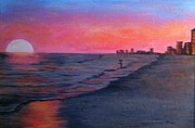Panama City Beach Painting Prints - Sizzling Sun  Print by Susan Hart