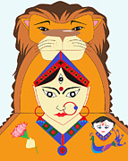 Goddess Durga Digital Art Prints - Skandmata Print by Pratyasha Nithin