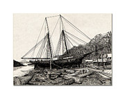 Pen And Ink Framed Prints Prints - Skansi Shipyard in Gig Harbor 1891 Print by Jack Pumphrey