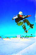 Snow Board Framed Prints - Skate Board City 3 Framed Print by Yury Malkov