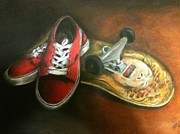 Original Art Pastels - Skate crazy by Michael Alvarez