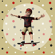 Skater Digital Art Posters - Skateboarder Poster by Design Windmill