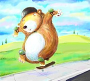 Safety Gear Digital Art - Skateboarding Bear by Scott Nelson