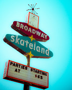Turquoise And Red Posters - Skateland Poster by Sonja Quintero