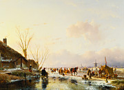 Snowy Stream Paintings - Skaters by a Booth on a Frozen River by Andreas Schelfhout